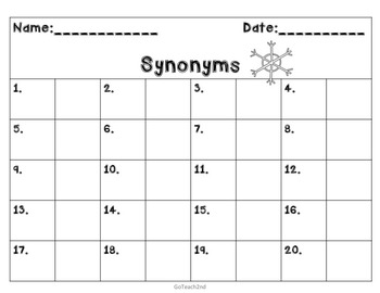 Synonyms Task Cards or Grammar Center or Scoot Game -40 cards