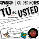 Tú versus Usted | Guided Notes | Spanish