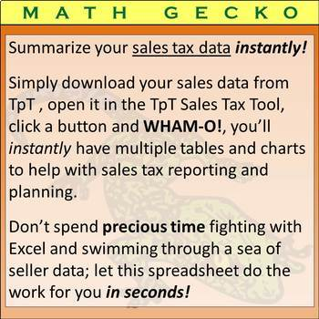 #T05 - TpT Sales Tax Tool: Instantly Sort and Summarize Tax Data!