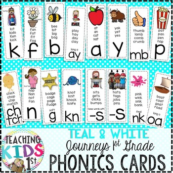 {TEAL} Journeys 1st Grade Phonics Cards