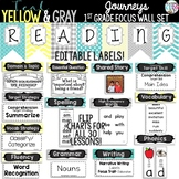 {TEAL, YELLOW GRAY} Journeys 1st Grade Focus Wall Set w/ E