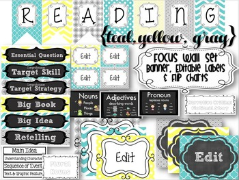 {TEAL, YELLOW, GRAY} Reading Focus Wall Set + Editable Labels and Flip Charts