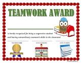 """TEAMWORK AWARD"" for Primary School Kids!  CLASSROOM AWARD SERIES"