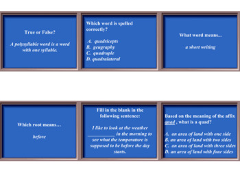[TEST PREP] JEOPARDY REVIEW Greek & Latin Affixes & Roots L4b