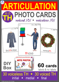 */TH/ Articulation 60 voiced & voiceless Photo Flash Cards : Speech Therapy