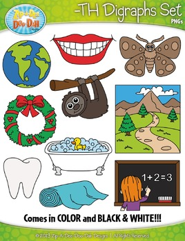 -TH Digraphs Words Clipart {Zip-A-Dee-Doo-Dah Designs}