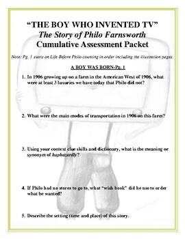 """""""THE BOY WHO INVENTED TV: The Life of Philo Farnsworth"""" Reading Unit CCSS"""