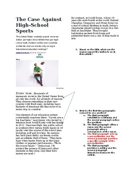 """THE CASE AGAINST HIGH-SCHOOL SPORTS"" NONFICTION MULTIPLE CHOICE QUESTIONS"