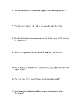 """""""THE CURRENT WAR"""" MOVIE QUESTIONS"""