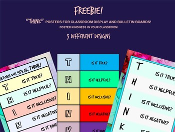 """""""THINK"""" Kindness and Anti- Bullying Poster for Classroom and Bulletin Board"""