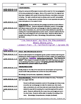 """THe Necklace"" by Guy de Maupassant - Four Day Lesson Plan (Unit Coverage)"