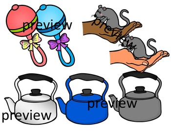 FINAL STABLE SYLLABLES -TLE ENDING WORDS CLIP ART