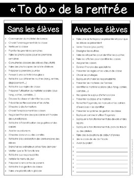 """TO DO LIST"" de la RENTRÉE"