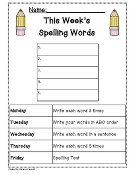 spelling packet templates for 5 words homework center by stuckey