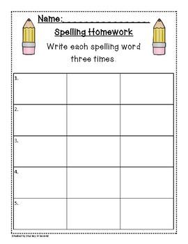 Spelling Packet/Templates for 5 Words (Homework/Center)