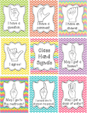 Classroom Management Hand Signal Posters - Chevron