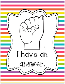 Classroom Management Hand Signal Posters - Stripes