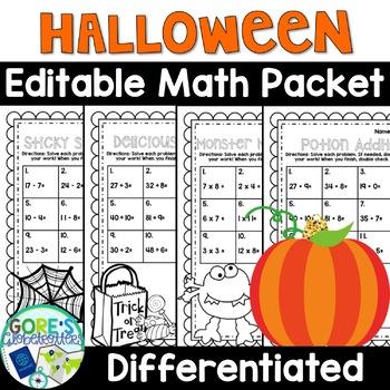 Halloween Worksheets - Differentiated Math Activities