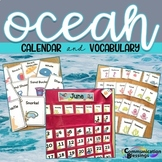 Ocean Beach Themed Calendar Pieces and Vocabulary Cards