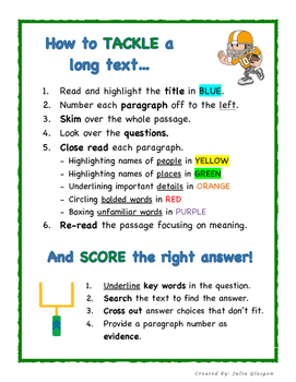 """Tackle the Text"" A Fun Guide to Improve Reading Comprehension"
