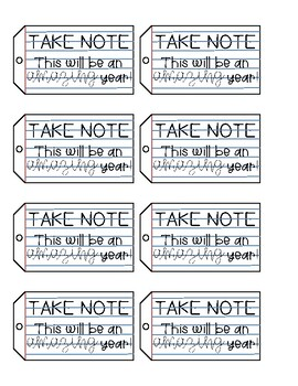 """""""Take Note"""" Notepad Gift Tag"""