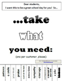"""Take What You Need"" posters"