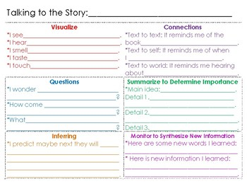 """""""Talking to the Story"""" Handout"""