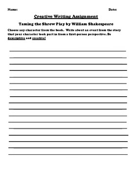"""""""Taming the Shrew"""" by William Shakespeare Creative Writing"""