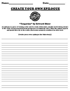 """Tangerine"" by Edward Bloor Epilogue Worksheet"