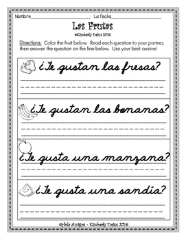 FREE ¿Te gustan las frutas? - Spanish fruit question and answer activity.
