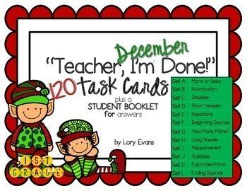 """Teacher, I'm Done!"" Task Cards for Dec - 1st Grade"