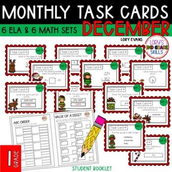 """1st Grade """"Teacher, I'm Done!"""" Task Cards for December"""