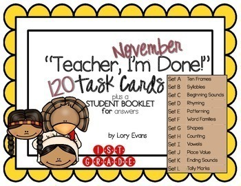 "1st Grade ""Teacher, I'm Done!"" Task Cards for November"