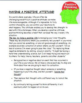 """Positive Attitude -Learning a positive attitude""  lesson, 3 activities"