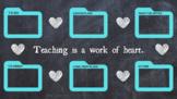 """""""Teaching is a Work of Heart"""" Chalkboard Desktop Wallpaper"""