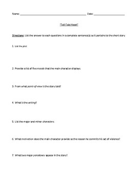 """""""Tell-Tale Heart"""" Assessment or Review Worksheet with Comprehensive Answer Key"""