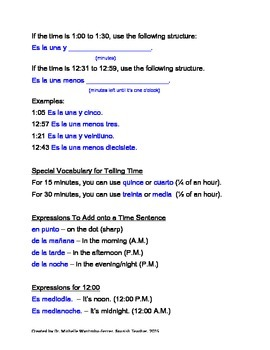 """Telling Time in Spanish"" Notes"