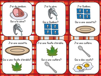 """""""Temps des sucres"""" Themed Vocabulary Game in French - J'ai...Qui a...?"""