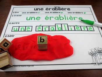 """""""Temps des sucres"""" Themed Word Work Activity Mats in French"""