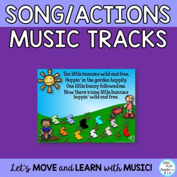 "Preschool Song:""Ten Little Bunnies"" with Literacy, Drama, Writing, Puppets, Mp3"