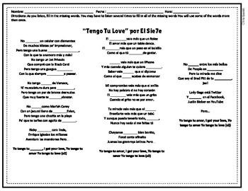 """Tengo Tu Love"" Cloze activity"