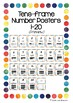'Tens Frame' Number Posters - Queensland Beginners font (Rainbow border)
