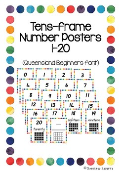 'Tens Frame' Number Posters - Queensland Beginners font (R