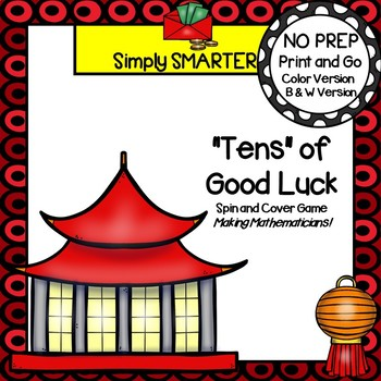 """""""Tens"""" of Good Luck:  NO PREP Chinese New Year Ten Frame Spin and Cover Game"""