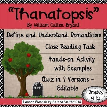 william cullen bryant thanatopsis summary
