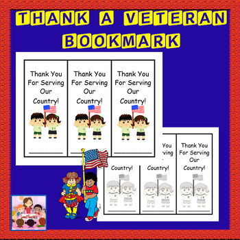 "Veterans Day ""Thank A Veteran""-Bookmark (a token from chil"