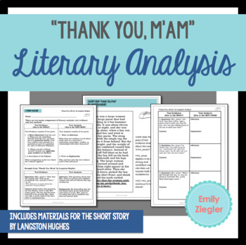 """""""Thank You, M'am"""" by Langston Hughes Literary Analysis Graphic Organizers"""
