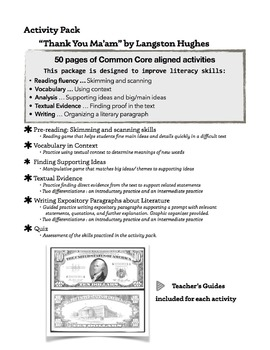 """Thank You Ma'am"" by Langston Hughes Activity Pack: 50 pag"