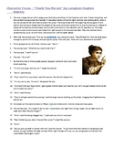 """Thank You Ma'am"" characterization story element worksheet"