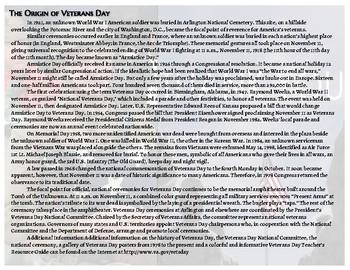 """Thank You"" Veterans Day Activity ELA"